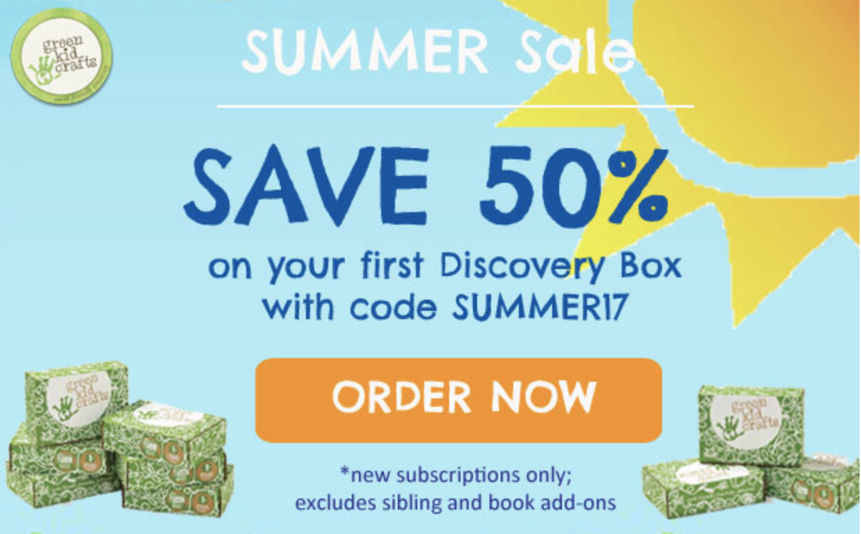 Green Kid Crafts Summer Sale! 50% Coupon