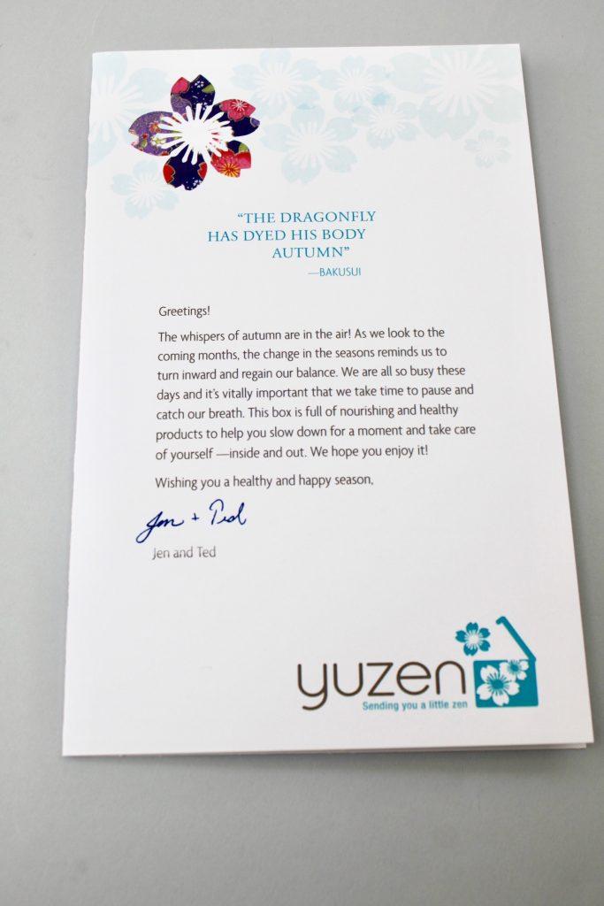 Yuzen Subscription Box Fall 2017 Review