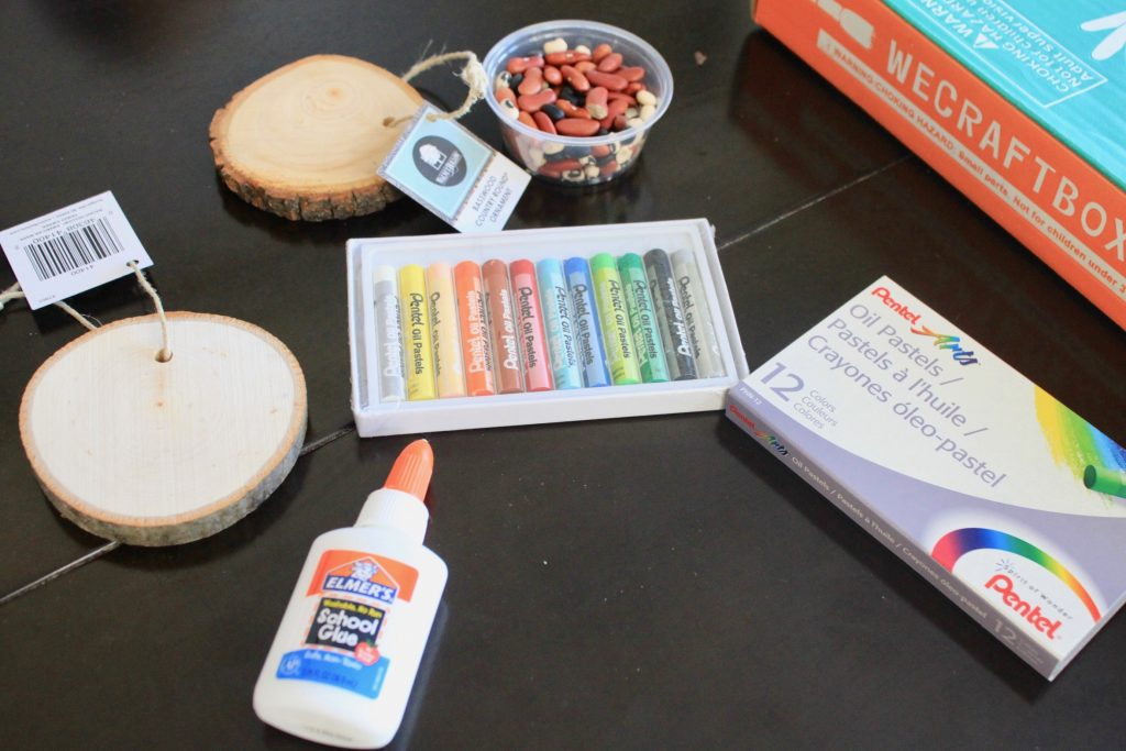 Oil Pastels, Elmer's Glue, Wooden Ornament Toddler Crafts