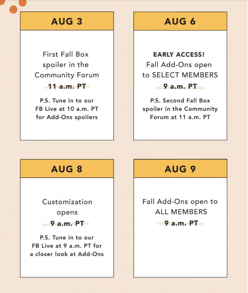FabFitFun Fall 2018 Spoilers, Schedule, Customization