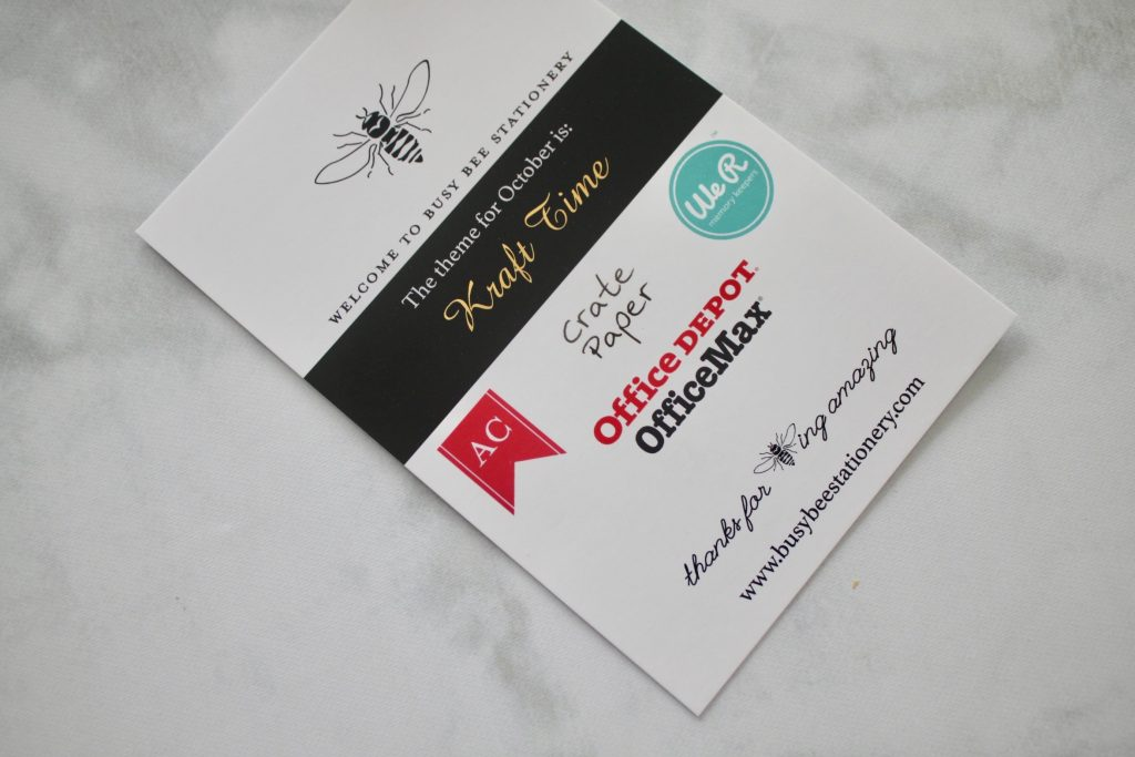 Busy Bee Stationery October 2018 Subscription Review