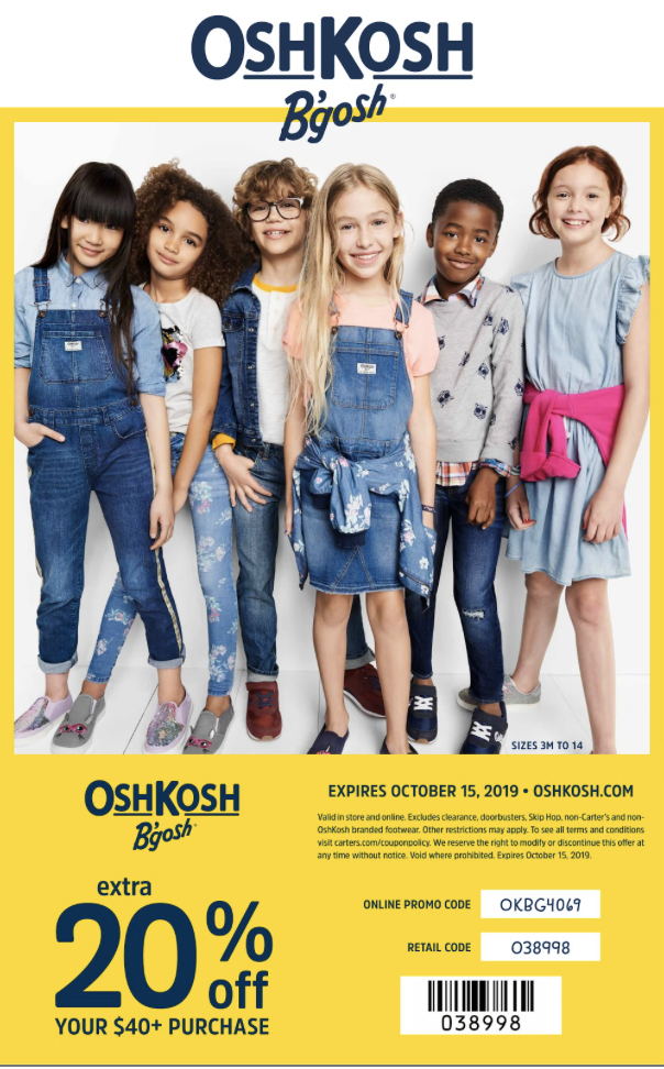 Oshkosh 20% off coupon 2019